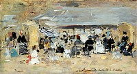 BOUDIN: BEACH, 1888-95.'Beach at Trouville.' Oil on canvas by Eug�ne Boudin, c1888-95.