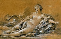 BOUCHER: VENUS.Venus reclining against a dolphin. Chalk drawing by Francois Boucher (1703-1770).