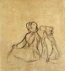 RENOIR: GIRLHOOD.Pencil drawing by Pierre-Auguste Renoir, late 19th century.