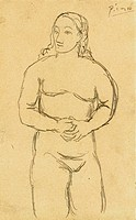 PICASSO: FEMALE NUDE, c1906.Pencil drawing by Pablo Picasso, c1906.