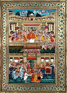 INDIA: RAMAYANA, 1813.Prince Rama preparing for exile. Top panel: Rama embraces a sage, while women look on from the palace's upper windows. Bottom pa...