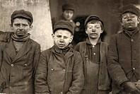 HINE: BREAKER BOYS, 1911.Four breaker boys working in #9 Breaker at the Hughestown Borough, Pennsylvania Coal Company, Pittston, Pennsylvania. Photogr...