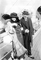 MARY GARDEN (1874-1967).Scottish-American operatic singer. Photographed on board a ship with Italian conductor Giorgio Polacco, early 20th century.
