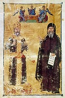 JOHN VI CANTACUZENUS(1292-1383). Byzantine emperor, 1341-1351. John VI as emperor and as monk. Illumination from a Byzantine manuscript.