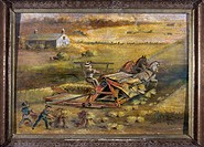 McCORMICK REAPER, 1884.Demonstration of a McCormick reaper and binder in Maine. Oil painting by Isaac Eaton, 1884.