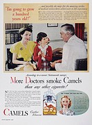 CAMEL CIGARETTE AD, 1946.'More Doctors smoke Camels than any other cigarette!' Advertisement for Camel cigarettes from an American magazine, 1946.