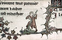 PEASANT, 14th CENTURY.A peasant working with a scythe. Detail of an illumination by Jehan de Grise in the 'Romance of Alexander,' c1340.