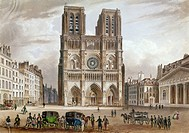 PARIS: NOTRE DAME, c1820sView of the facade of Notre Dame Cathedral in Paris, France. Color line engraving, early 19th century.