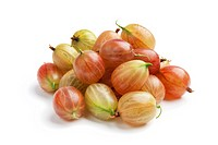 Whole fresh gooseberries on white background