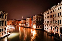 a view of the Canal Grande by night