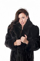 Woman wearing mink coat