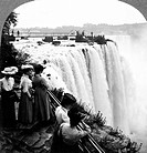 NIAGARA FALLS, c1906.A view of Horseshoe Falls from Goat Island, Niagara Falls, New York, with five women in the foreground. Stereograph, c1906.