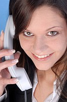friendly woman with telephone