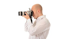 man holds a camera