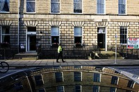 Scotland, City of Edinburgh, Edinburgh. Buildings in Abercromby Place reflected in the roof of a car