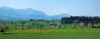 Travel, Nature, Agriculture, Europe, Switzerland, Lucerne, Farmland, Rural, Tranquil, Scenic, Landscape, Blue Sky, Green, Spring, Meadow, Field, No Pe...
