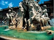 The Four Rivers Fountain, by Bernini Gian Lorenzo, 1648 _ 1651, 17th Century, marble, travertine