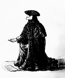 VENICE: MASKED BEGGAR.A Venetian beggar disguising his identity with a mask and costume. Illustration from Giovanni Grevembroch's 'Gradenigo Dolphin,'...