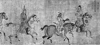 CHINA: MOUNTED WARRIORS.Three mounted warriors. Right detail of a handscroll, Ming Dynasty, early 15th century. Ink on silk.