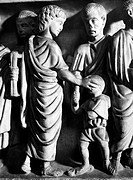 JESUS AND BLIND MAN.Jesus healing the man born blind. Detail of a relief sculpture from a Roman sarcophagus, 4th century A.D.