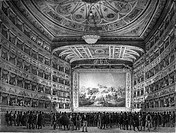 VENICE: TEATRO LA FENICE.Interior of the Teatro La Fenice in Venice, Italy. Line engraving, 1837.
