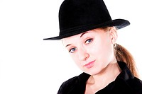 portrait of smiling beautiful girl with black hat