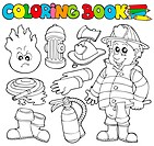 Coloring book firefighter collection _ isolated illustration.