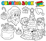 Coloring book with Christmas theme _ isolated illustration.