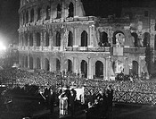 POPE PAUL VI (1897-1978).Pope, 1963-1978. Pope Paul in front of the Colosseum in Rome, Italy, celebrating the Via Crucis (Stations of the Cross) on Go...