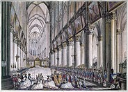 MARIE ANTOINETTE (1755-1793).Queen of France, 1774-1792. Marie Antoinette accompanied by her ladies-in-waiting, at the Notre Dame cathedral to pray fo...