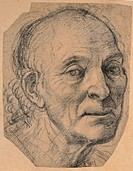 Male portrait, by Signorelli Luca, 1506, 16th Century, black pencil