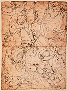 Nude Armed Men Fighting, by Cambiaso Luca, 16th Century, pen on paper