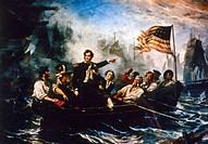 PERRY: NAVAL BATTLE, 1813.Oliver Hazard Perry leaving his badly damaged flagship, the 'Lawrence,' for the 'Niagara' to continue fighting against the B...