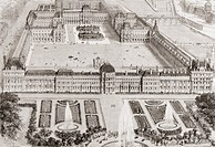 View of the new gardens of the Tuileries Palace and the new and the old Louvre, Paris, France, in the 19th century  From L'Univers Illustre, published...