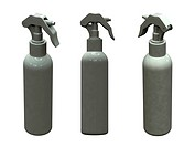 3d renders of white plastic spray bottle