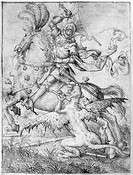 SAINT GEORGE & THE DRAGON.Saint George slaying the Dragon. Drawing by the Master of Absalom, Dutch, 15th century.