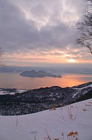 Sunrise over Lake Toya in Winter