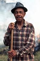 MISSISSIPPI: RURAL MAN.A man burning leaves near Vicksburg, Mississippi. Photographed c1974.
