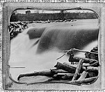 ST. ANTHONY FALLS, c1850.A view of the Falls of St. Anthony on the Mississippi River in Minneapolis, Minnesota, partly jammed with logs from a sawmill...