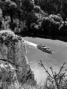 GERMANY: DANUBE GORGE.Aerial view of a passenger boat traveling through the Danube River gorge in the Franconian Jura mountains, between Weltenburg an...