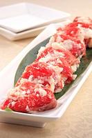 Izushi Sushi Salmon Plate Fragmenting Seafood
