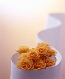 Yellow roses in paper