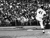 George Thomas Seaver, known as Tom. American baseball pitcher. Delivering a pitch during the second inning of his one_hit performance for the New York...