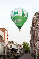 Balloon above the city of Amersfoort advertising for a nicer landscape, Netherlands