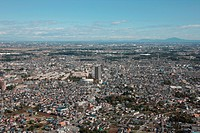 Aerial view of Okegawa City, Saitama Prefecture, Honshu, Japan