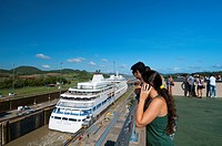 Tourists at visitors center of Miraflores Locks  Panama Canal, Panama City, Panama, Central America