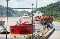Cargo ships arriving to Pedro Miguel Locks  Panama Canal, Panama City, Panama, Central America