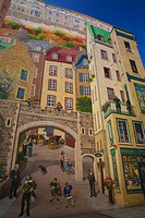 La Fresque des Quebecois mural, Old Quebec, Quebec City, Quebec, Canada