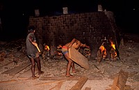 BRICK MAKING, BRAZIL. Amazon, Maraba. Brick furnaces fueled with mahogany. .