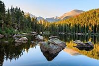 Bear Lake at sunrise  Rocky Mountain National Park, Colorado, United States